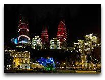 отель Fairmont Baku Flame Towers: Башни вечером