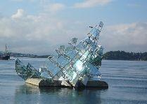 Паром Копенгаген - Осло: Скульптуры в акватории порта