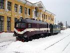 Алуксне: Вокзал и поезд узкоколейки.